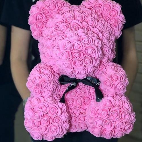 Мишка из роз *розового цвета*
