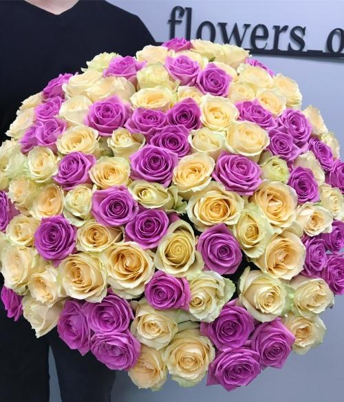 Букет Роз *Кремовая- розовая роза* 101 шт
