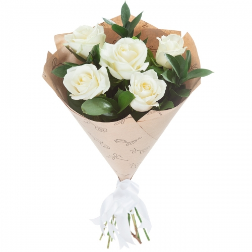 Букет Роз *Белая роза* 5 шт