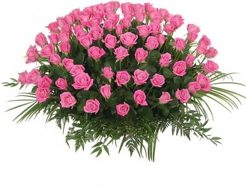Корзина *Розовая роза* 101 шт