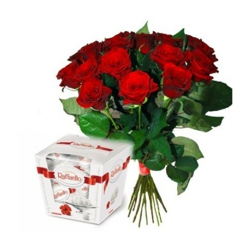 Bouquet of Roses *Red Rose and Raffaello* 25 pcs.