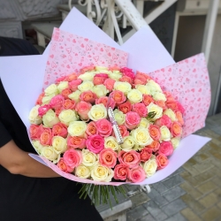 Bouquet of Roses *Pink and white Rose* 101 pcs.