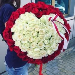 Букет Роз *Красная и белая роза* 101 шт