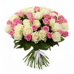 Bouquet of Roses *White and pink Roses* 51 pcs.