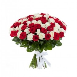Bouquet of Roses *Red and White* 51 pcs.