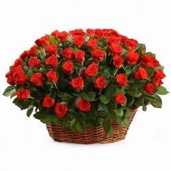 Basket *Red Roses* 101 pcs.